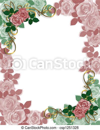 Wedding Invitation Border Roses - csp1251328