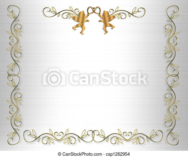 Wedding Invitation Border White Sat - csp1262954