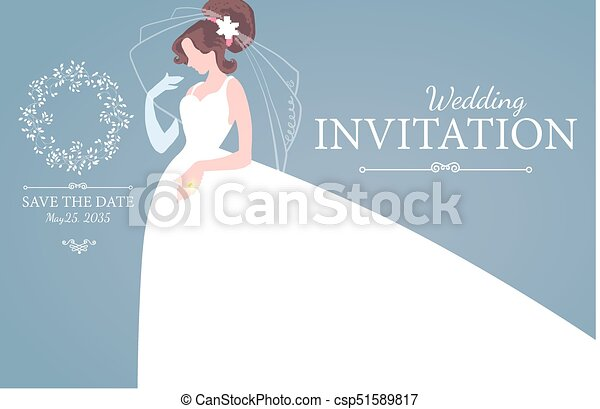 Wedding invitation. brunette bride in wedding dress. bridal ...