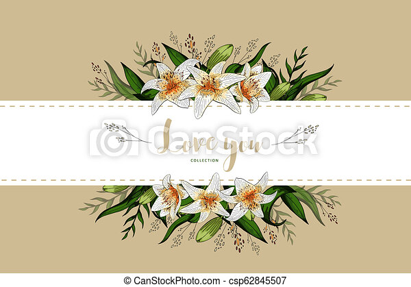 Wedding Invitation Card Floral Lily Bouquet And Lettering