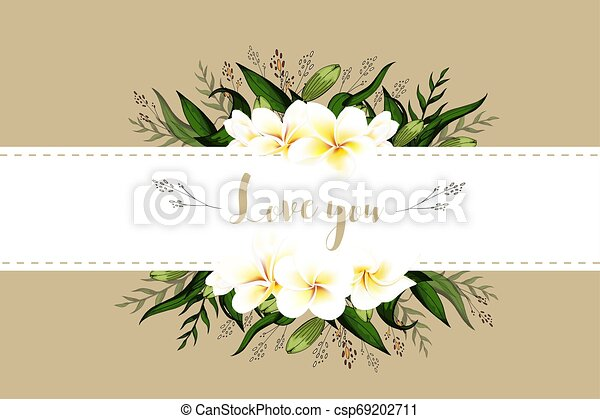 Wedding Invitation Card Floral Plumeria Bouquet And Lettering