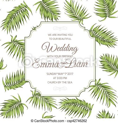 Wedding invitation card greenery palm leaves rsvp wedding event wedding invitation card greenery palm leaves rsvp csp42746262 stopboris Images