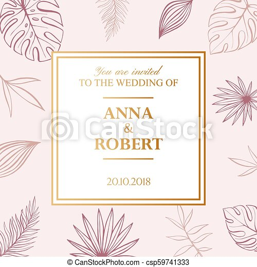 Wedding Invitation Card In Pastel Colors Tropical Background Vector Template Fashion Graphic
