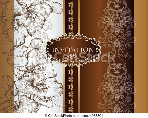 Wedding Invitation Card In Royal St Vector Hand Drawn Wedding
