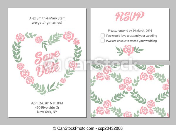 Wedding invitation card suite with daisy flower Templates and pattern. - csp28432808