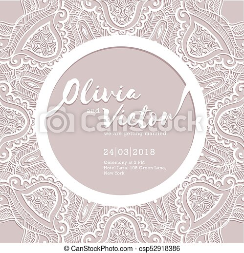 Wedding Invitation Card Template Of Wedding Card With Lace Border