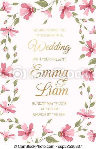 Wedding invitation card template pink gypsophila wedding vector wedding invitation card template pink gypsophila csp52536307 stopboris Images