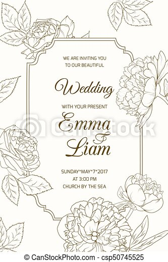 Wedding Invitation Card Template Rose Peony Flower Wedding Marriage