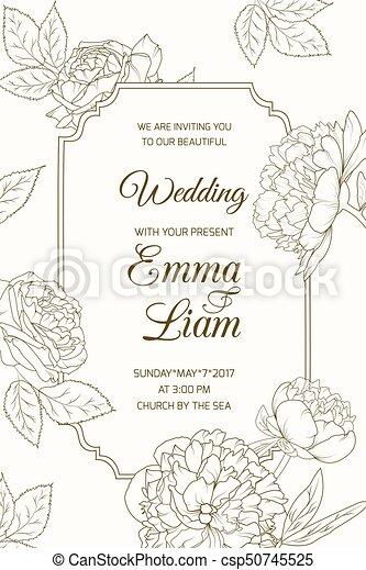 wedding invitation card template rose peony flower wedding marriage