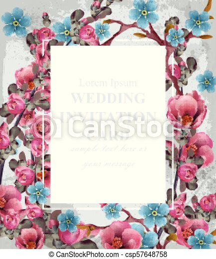 Wedding Invitation Card Vector Blue And Pink Spring Flowers Beautiful Vertical Floral Frame 3d Backgrounds