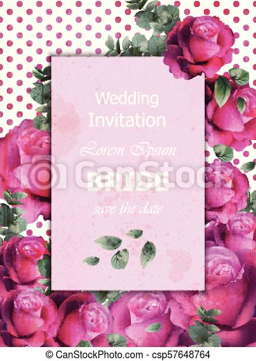 Wedding Invitation Card Vector Beautiful Roses Floral Frame Vertical Banner Poster Template 3d Backgrounds