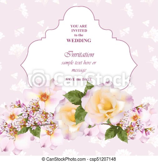 Wedding Invitation Card Vector Delicate Rose And Lavender Flowers Primrose Pink Colors