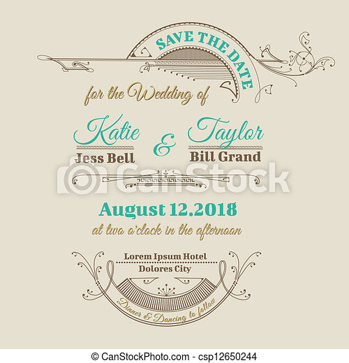 Wedding invitation card vintage frame theme in vector eps vector wedding invitation card vintage frame theme in vector stopboris Choice Image