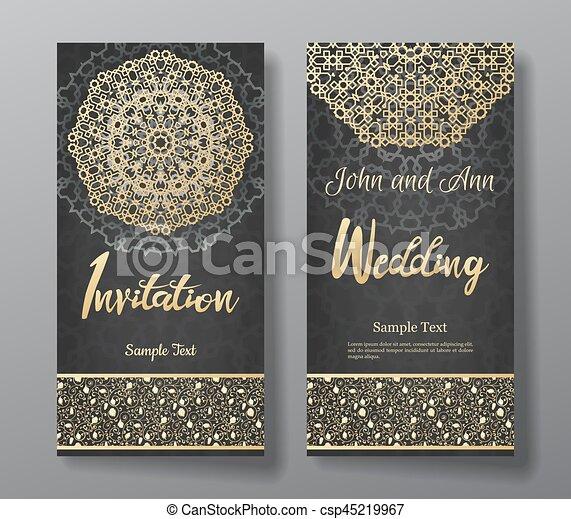 Wedding Invitation Card With Arabic Mandala Background