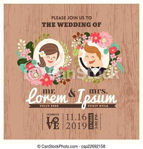 Wedding invitation card with cute groom and bride cartoon wedding invitation card with cute groom and bride cartoon csp22692158 stopboris Gallery