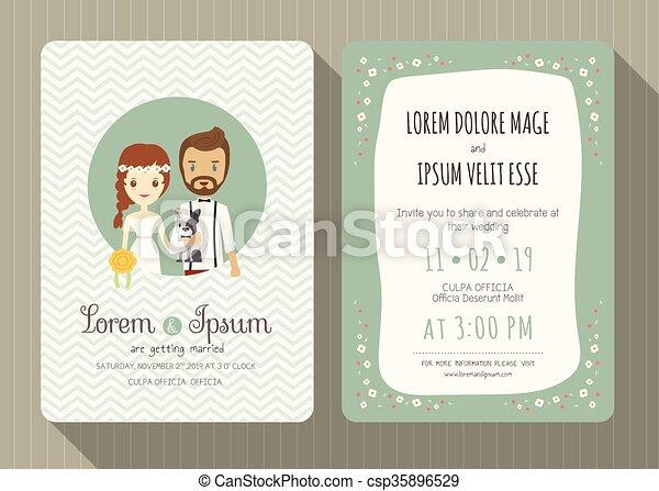Wedding Invitation Card With Cute Groom And Bride Cartoon Wedding