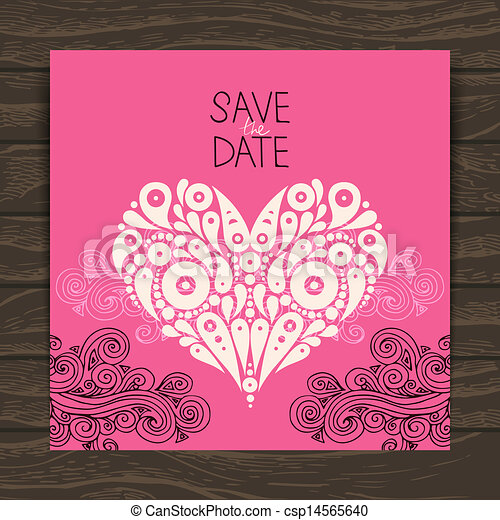 Wedding invitation card with decorative stylish heart  - csp14565640