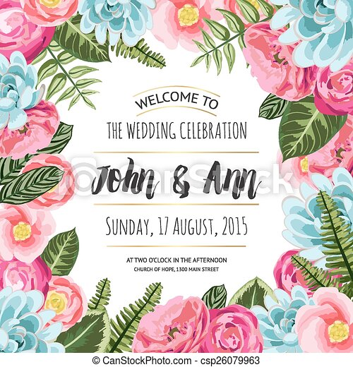 Wedding invitation card with painted flowers and plants vector wedding invitation card with painted flowers csp26079963 stopboris Image collections