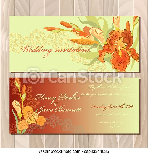 Wedding Invitation Card With Red Iris Flower Background Vector Illustration