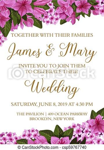 Wedding Invitation Card With Spring Flower Border Wedding