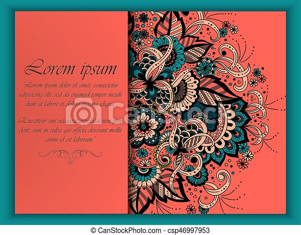 Wedding invitation card with vector abstract floral elements in wedding invitation card with vector abstract floral elements in indian mehndi style abstract henna floral vector illustration colorful design element stopboris Gallery