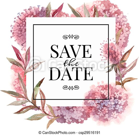 Wedding invitation card with watercolor flowers - csp29516191
