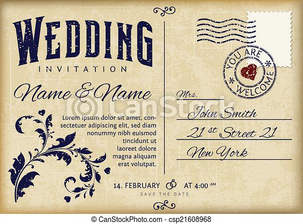 Retro wedding invitation vector design on old grunge postcard wedding invitation csp21608968 stopboris Choice Image