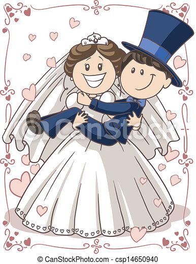 Wedding invitation couple . Vector cartoon of bride and ...