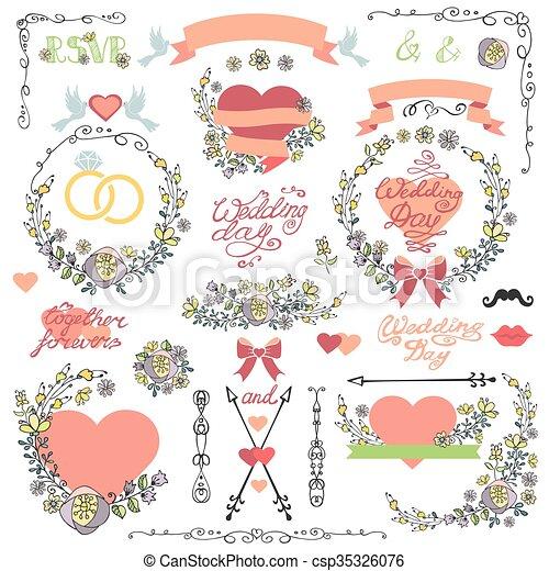 Wedding invitation decor setodle floral vectors illustration wedding invitation decor setodle floral wreathheartwords csp35326076 junglespirit Image collections