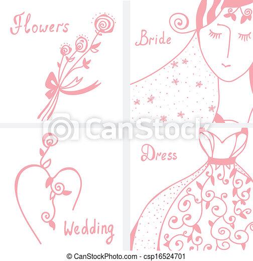 Wedding invitation design elements set - csp16524701