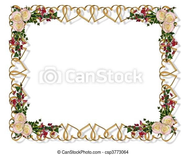 Wedding invitation elegant floral - csp3773064