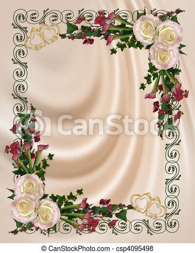 Wedding invitation elegant floral - csp4095498