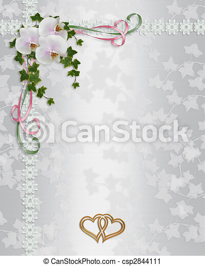 Wedding Invitation elegant orchids - csp2844111