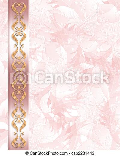Wedding Invitation Elegant Pink border - csp2281443
