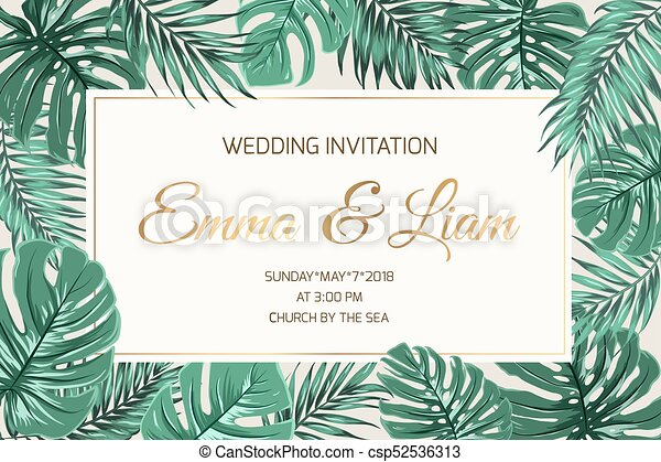 Wedding Invitation Exotic Green Leaves Golden Text