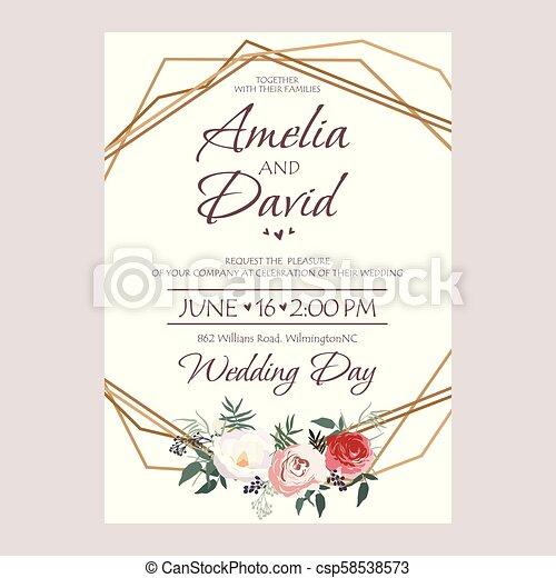 Wedding Invitation Floral Invite Card Design Peach Lavender Pink
