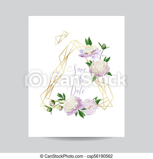 Wedding invitation floral template. save the date golden frame with ...