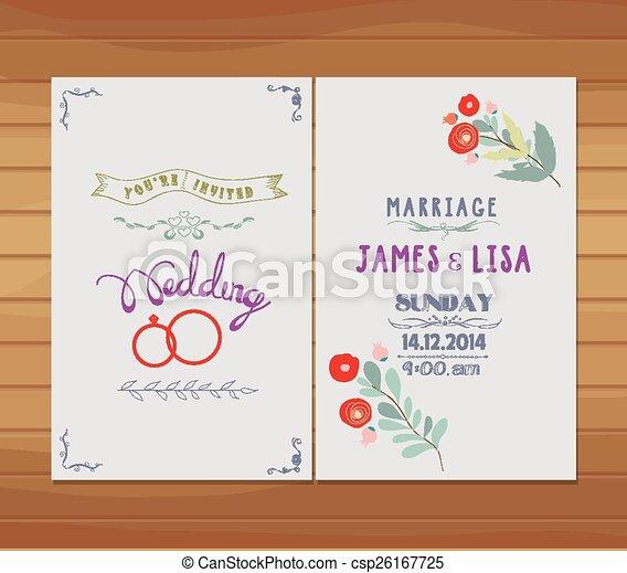 wedding invitation florals - csp26167725