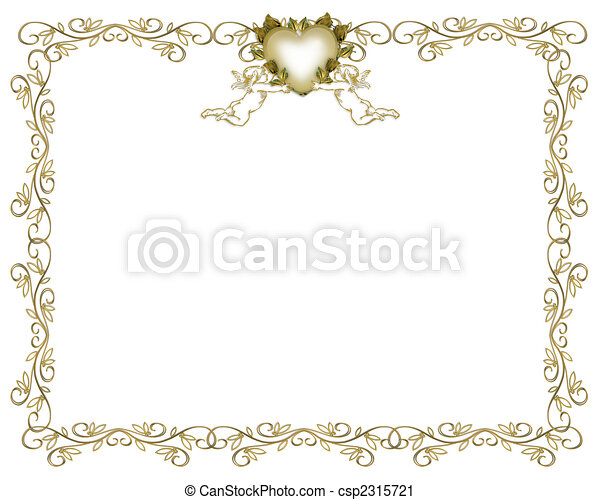 Wedding Invitation Gold Border Angels - csp2315721
