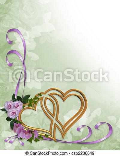 Wedding invitation gold hearts - csp2206649