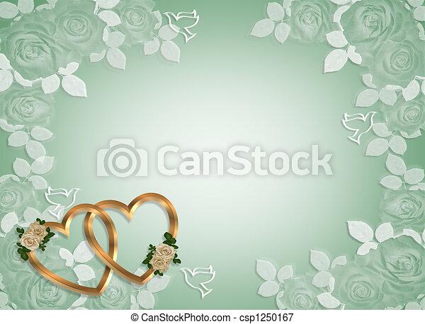 Wedding Invitation Gold Hearts - csp1250167