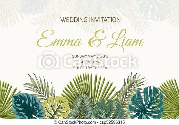 Wedding invitation green turquoise tropical leaves wedding marriage wedding invitation green turquoise tropical leaves csp52536315 stopboris Choice Image