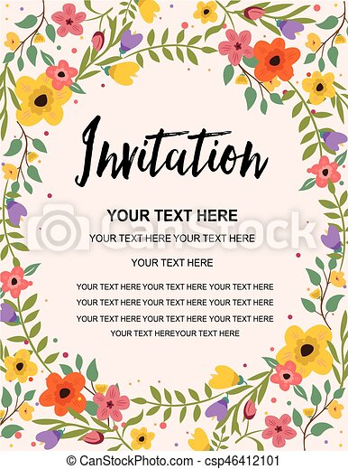 Wedding Invitation Greeting Card Colorful Vector Background Template Illustration Design