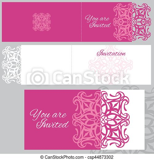 Wedding invitation greeting card with laser cutting pattern vector wedding invitation greeting card with laser cutting pattern vector mockup stopboris Choice Image