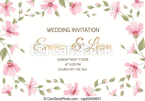 Wedding invitation gypsophila flowers border frame wedding wedding invitation gypsophila flowers border frame csp52404631 stopboris Images