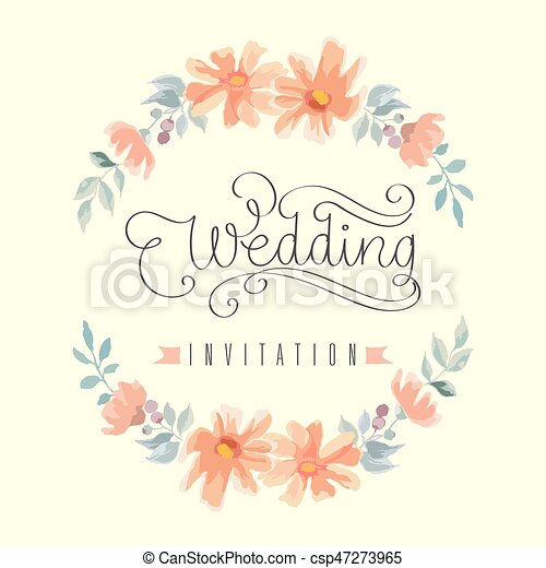 Wedding Invitation Hand Letter With Flowers Vector Illuatration