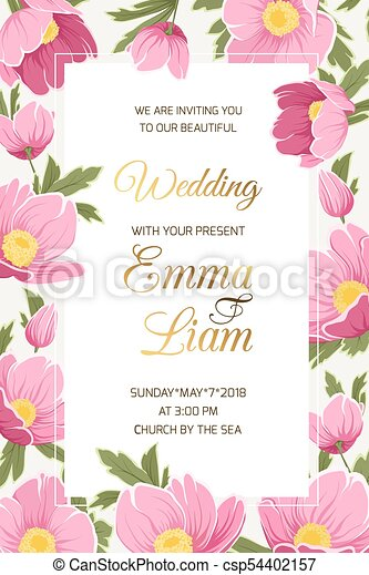 Wedding Invitation Hellebore Anemone Poppy Flowers Wedding Event Invitation Card Template Hellebore Anemone Poppy Peony Canstock
