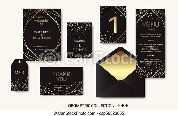 Wedding Invitation Invite Card Design With Geometrical Art Lines Gold Foil Border Frame