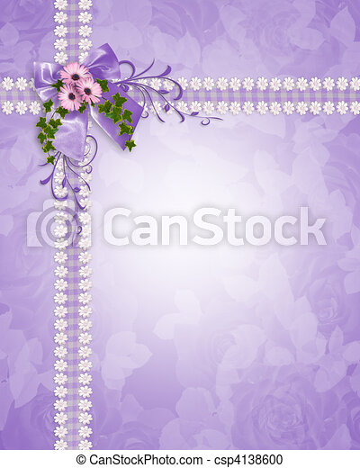 Wedding invitation lavender daisies - csp4138600
