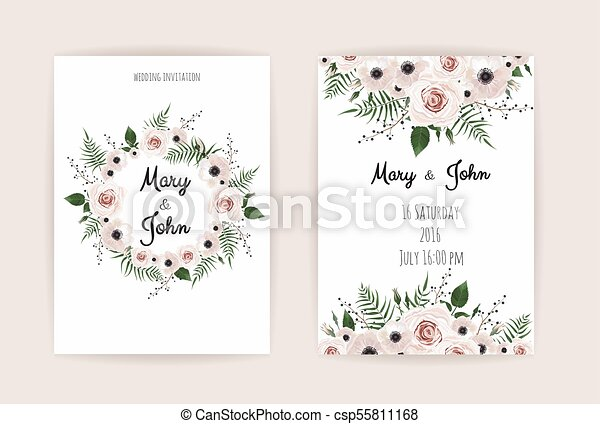 Wedding Invitation Modern Card Design Vector Elegant Watercolor Rustic Template